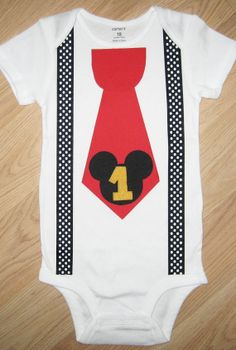 Mickey Mouse Birthday Outfit Baby Mickey Mouse Birthday Tie Onesie With Suspenders Mickey mouse first birthday shirt Mickey birthday onesie