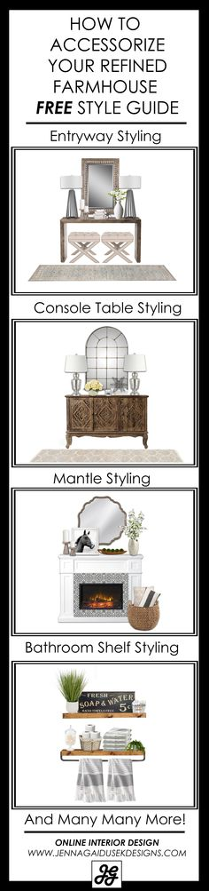DESIGNER ACCESSORIZING TIPS! How to style your console table, bathroom shelves, buffet, storage console, entry table. Design tips, decorating ideas, living room design, accessorize my home, style my house, interior design, interior decorating, online shopping, designer ideas, modern farmhouse, fixer upper, refined farmhouse, transitional design, classic design, gray, rustic, coastal, new house, home decor, accessories, bedroom, guest room, basement, online interior design.
