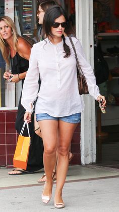 Maternity - oversized blouse, denim shorts & flats.