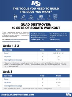(Click through to download PDF!) This is a specialization workout for lifters with lagging #quads. It can be performed in an ongoing manner, and features 2 intense weeks followed by a deload week.