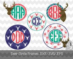 Deer Monogram Frames .DXF/.SVG/.EPS Files for use with your Silhouette Studio Software