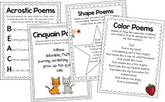 Form poems and free verse poems for grades Teacher examples and planning sheets included, does cost money Teaching Poetry, Teaching Language Arts, Teaching Writing, Writing Activities, Student Teaching, Writing Ideas, Teaching Tools, Teaching Resources, Poetry Unit