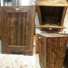 Our pallet reclaimed wood trash can holder.