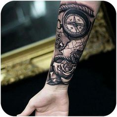 unique Tattoo Trends - Compass and rose - 100 Awesome Compass Tattoo Designs ♥ ♥. Sexy Tattoos, Map Tattoos, Cool Forearm Tattoos, Forearm Tattoo Design, Best Sleeve Tattoos, Tattoo Sleeve Designs, Trendy Tattoos, Finger Tattoos, Tattoo Designs Men