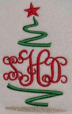 Christmas Tree Monogram Embroidery Design | Apex Embroidery Designs, Monogram Fonts & Alphabets