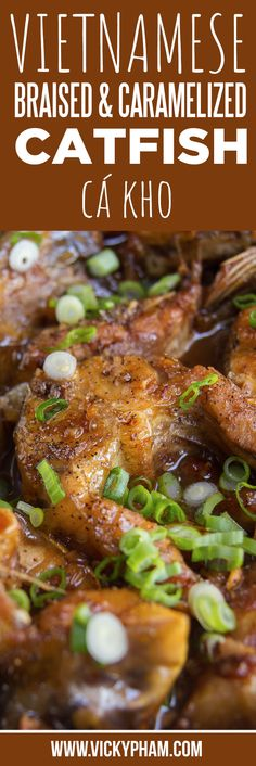 Vietnamese Braised & Caramelized Catfish (Ca Kho) Vietnamese Home Cooking Recipes Malvina&VietnameseRecipes Seafood Dishes, Seafood Recipes, Gourmet Recipes, Cooking Recipes, Seafood Meals, Game Recipes, Cooking Food, Diet Recipes, Easy Vietnamese Recipes
