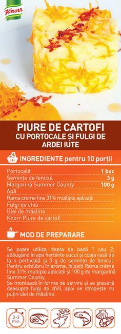 Piure de cartofi cu portocale si fulgi de ardei iute - RETETA