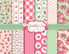 Pack 12 shabby Chic Rose Digital Scrapbook papel para invitaciones, tarjeta que hace, scrapbooking digital