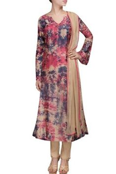 Featuring a chanderi blue , pink tie dye print anarkali set with dupatta and…