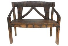 Antique Iron-Bound Continental Bench