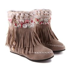 Fashion Floral Womens Increased Low Heel Fringed Boots