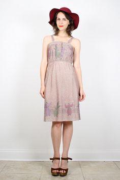 Vintage 70s Sundress Hippie Dress Dusty Purple Asian Print Midi Dress Light Gray Purple Boho Festival Novelty Print Dress XS S Extra Small #vintage #etsy #70s #1970s #hippie #sundress #dress #midi #boho #festival by ShopTwitchVintage