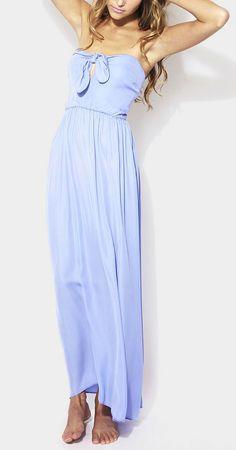 Summer Blue Zoe Silk Strapless Maxi Dress