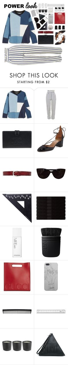 """""""#powerlook"""" by blueuer ❤ liked on Polyvore featuring Victoria, Victoria Beckham, Topshop, Chanel, Aquazzura, Liebeskind, Tiffany & Co., Design Letters, Yves Delorme, NARS Cosmetics and Gucci"""