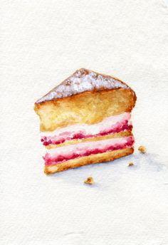 Strawberry Sponge Cake  ORIGINAL Painting Still por ForestSpiritArt