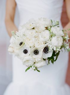 white garden rose and anemone bouquet by Max Gill
