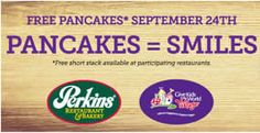 FREE Pancakes at Perkins on – yes, Perkins is giving you a free short stack of their delicious pancakes as part of their Give Kids The World Pancake Day! Restaurant Deals, Tasty Pancakes, Pancake Day, Free Coupons, Free Samples, Kids, Free Stuff, Happiness, Birthday