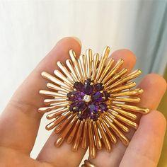 Retro gold, amethyst and diamond brooch by Tiffany & Co