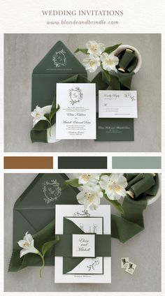 Hunter Green Wedding Invitation, Greenery Wedding Invitation, Wedding Invitation Crest, Monogram This elegant wedding invitation has natural, rustic touches that bring you right to the English co Elegant Wedding Invitations, Cricut Wedding Invitations, Wedding Invitation Vector, Invites, Olive Green Weddings, Beige Wedding, Hunter Green, English Countryside, Wedding Ideas