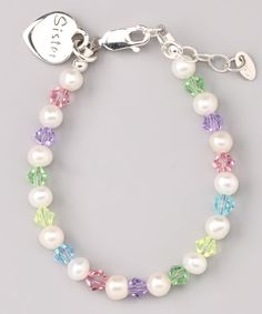 This Pearl & Crystal 'Sis' Bracelet by Tiny Treasures is perfect! #zulilyfinds