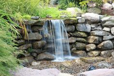 All the Beauty of a traditional water feature but more Eco. - Pondless Waterfalls…All the Beauty of a traditional water feature but more Eco-friendly. Backyard Pool Landscaping, Ponds Backyard, Backyard Waterfalls, Garden Ponds, Koi Ponds, Patio, Unique Garden Decor, Unique Gardens, Garden Ideas