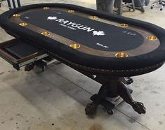 "96"" Custom Poker Table custom felt, claw feet & chip drawer Poker Table For Sale, Custom Poker Tables, Game Tables, Table Games, Custom Poker Chips, Roulette Table, Video Poker, Casino Poker, Play Online"