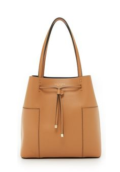 Camel Leather Bucket Tote Bag