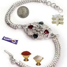 Silver rakhi shows trendy style statement. Get fancy silver rakhi through Buyrakhigifts gallery with exciting offers on raksha bandhan occasion with free home delivery.