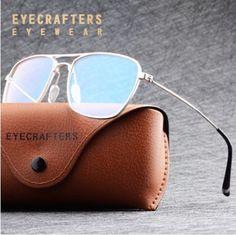 f675fafc3 EyeCrafters* 9511 Armação de Óculos Masculino Retangular Alumínio. Simple  Market