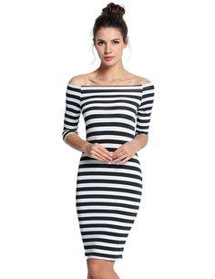 afferty Women Bodycon Dress Sexy Stripe Off Shoulder 3/4 Sleeve Sheath Cocktail Bandage Dresses at Amazon Women's Clothing store: