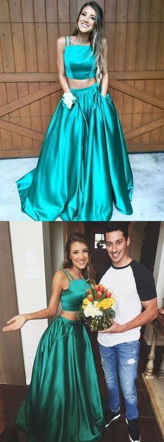 Generous Two Piece Square Neck Sleeveless Sweep Train Prom Dress Ruched with Pockets prom,prom dress,prom dresses,prom gown,prom gowns,long prom dress