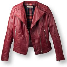 Bordeaux Leather Jackets with Quilted Accents for Women   Pierotucci ($415) ❤ liked on Polyvore featuring outerwear, jackets, red jacket, red quilted jacket, real leather jacket, genuine leather jacket and quilted jacket