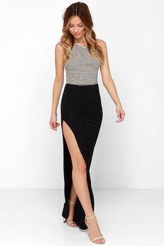 Crowd-Puller Black Maxi Skirt at Lulus.com!