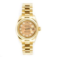 Best luxury watches for women no. 9. Rolex Lady-Datejust 26 Gold Dial 18K Yellow Gold President Automatic Watch. The Lady Datejust series of timepieces provides the perfect way to have one of the most prestigious names in timekeeping on your wrist at a reasonable price.