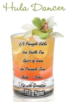 Hula Dancer Drink! Add a floating orchid or drink umbrella to fancy it up!