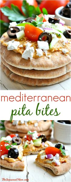 Loaded with hummus, feta cheese, olives, and fresh veggies, these Mediterranean Pita Bites are an easy and healthy snack, lunch, or party appetizer just bursting with fresh summer flavor. #CalOlivesMedRecipe #ad