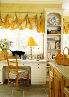 French Country office area in kitchen. Love the black cat :) sweet, but impossibly neat! French Country Cottage, French Country Style, Country Décor, Country Sampler, French Decor, French Country Decorating, Home Office Design, House Design, Estilo Country