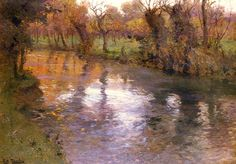Frits Thauow, An Orchard on the Banks of a River