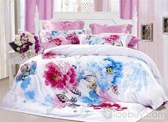 独特なライトピンクとなす紺ブルー牡丹4点寝具セット
