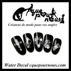Stickers d'ongles Nail art Water decal design argent
