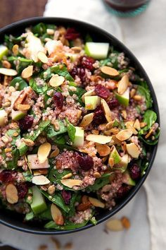 A simple quinoa salad with toasted almonds and sunflower seeds, a chopped apple, and dried cranberries. A delicious raspberry vinaigrette covers this salad! Add some grilled chicken if desired. (Grilled Chicken And Veggies) Quinoa Salad Recipes, Salad Dressing Recipes, Vegetarian Recipes, Healthy Recipes, Kale Recipes, Avocado Recipes, Whole Foods, Whole Food Recipes, Cooking Recipes