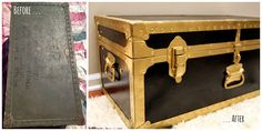 A DIY project turning an old, beat up trunk into a loved treasure.  On the blog.  {DIY: Steamer Trunk Makeover} livingbylauren.com