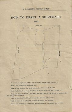 How to draft an edwardian shirtwaist pattern! you could also drape for the pattern too! Techniques Couture, Sewing Techniques, Vintage Sewing Patterns, Clothing Patterns, Belle Epoque, Blouse Pattern Free, Pants Pattern, Edwardian Clothing, Historical Clothing