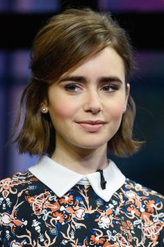 Lily Collins, Bob Haircut with side parted hair, short bob hairstyles, celebrity bob haircut 2015 Hairstyles, Short Bob Hairstyles, Celebrity Hairstyles, Pretty Hairstyles, Wedding Hairstyles, Bob Haircuts, Summer Hairstyles, Black Hairstyles, Hot Hair Styles