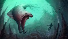 Sea Beast by kelsm.deviantart.com Deep Sea Creatures, Alien Creatures, Fantasy Creatures, Mythical Creatures, Creature Concept Art, Creature Design, Alien Fish, Ocean Monsters, Myths & Monsters