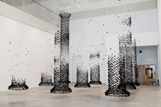 Architectural Columns Constructed from Suspended Charcoal by Seon Ghi Bahk - Colossal
