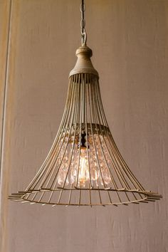 Kalalou Metal Flare Pendant Light With Glass Gems