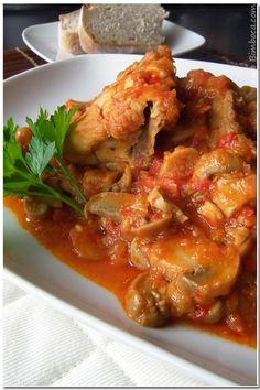 Frango com Pimentos na Bimby - Receitas Bimby Portuguese Recipes, Portuguese Food, Chicken Wings, Poultry, Recipies, Pasta, Meat, Cooking, Healthy