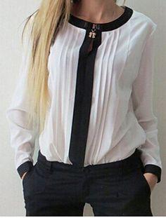 Stylish Round Collar Long Sleeve Color Block Ruffled Women's Blouse