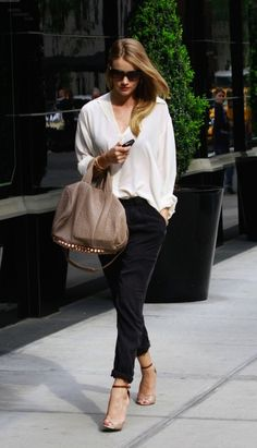 Rosie Huntington LOVE THIS OUTFIT studded bag she carries everywhere